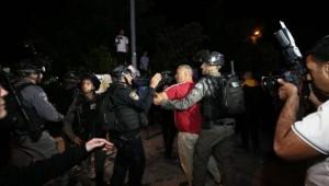 İsrail'den Kudüs'teki Şeyh Cerrah Mahallesi'nde düzenlenen tehcir karşıtı gösteriye müdahale