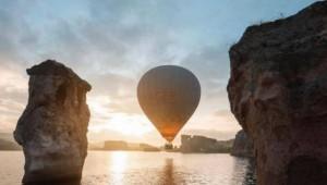 Emre Gölü'nde İlk Sıcak Hava Balonu Havalandı